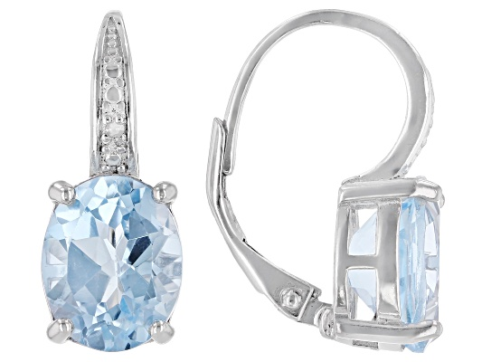 Blue Topaz 6.00ctw Oval With Diamond Accent Round, Rhodium Over Sterling Silver Earrings