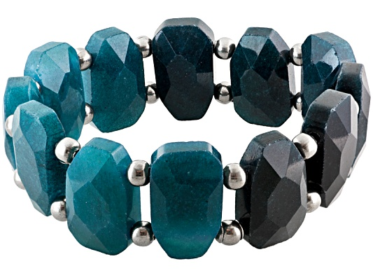 Sophisticated Steel(R) Fc Blue Quartzite Stainless Steel Bead Station Stretch Bracelet