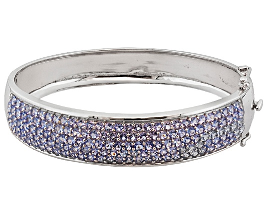 10.29ctw Round Tanzanite Sterling Silver Hinged Bangle Bracelet