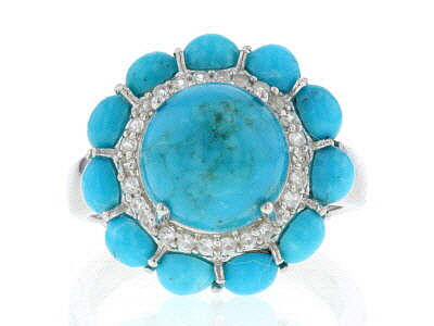 Blue turquoise rhodium over silver ring .26ctw