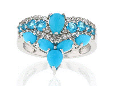Blue Turquoise Rhodium Over Silver Ring .82ctw
