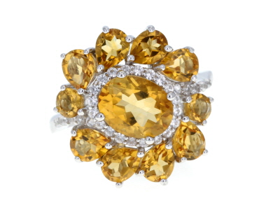 Golden citrine rhodium over sterling silver ring 4.14ctw