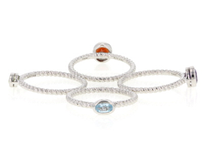 Mixed-gem rhodium over silver set of 4 rings 1.32ctw