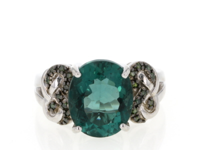 Teal fluorite rhodium over sterling silver ring 4.51ctw