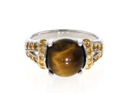 Brown Tiger's Eye Rhodium Over Sterling Silver Ring .28ctw
