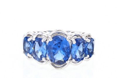 Blue Lab Created Spinel Rhodium Over Silver Ring 3.93ctw
