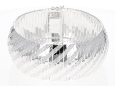 Sterling Silver Diamond-Cut and Polished Domed Bracelet