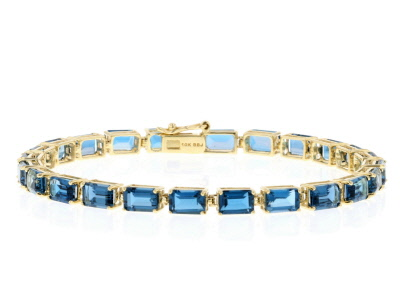 London Blue Topaz 10k Yellow Gold Tennis Bracelet 13.87ctw.