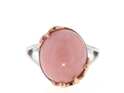 Pink Opal Rhodium & 18k Gold Over Silver Solitaire Ring