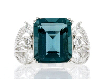 Teal Fluorite Rhodium Over Sterling Silver Ring 6.43ctw