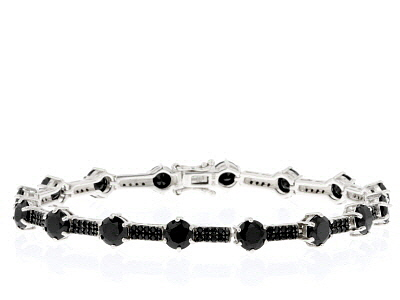 Black Spinel Rhodium Over Silver Bracelet 11.07ctw