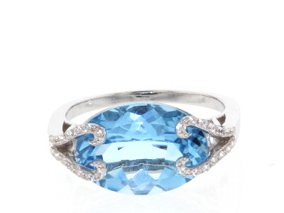 Blue Topaz Rhodium Over Sterling Silver Ring 6.50ctw