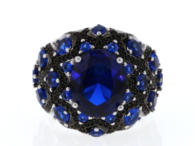 Blue Lab Spinel Rhodium Over Silver Ring 6.53ctw