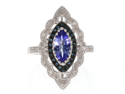 Blue Tanzanite Rhodium Over Silver Ring 1.06ctw