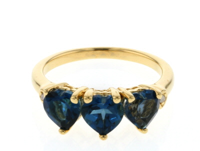 London Blue Topaz 18k gold over silver ring 2.44ctw