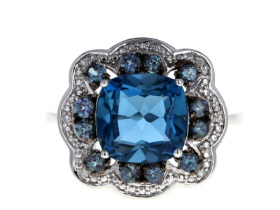 London blue topaz rhodium over silver ring 3.38ctw