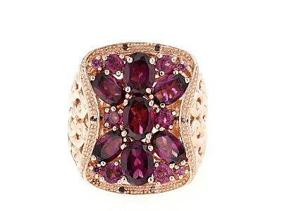 Raspberry color rhodolite 18k gold over silver ring 5.15ctw