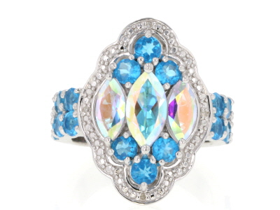 Multi-Color Mercury Mist® Topaz Rhodium Over Silver Ring 3.91ctw