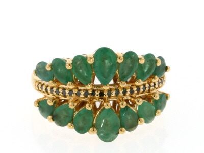 Green Emerald 18k Gold Over Silver Ring 2.53ctw