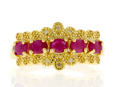 Red Burmese ruby 18k gold over silver ring 1.07ctw