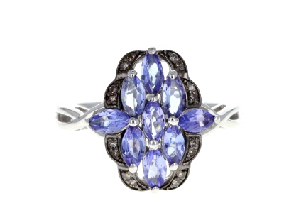 Blue tanzanite rhodium over sterling silver ring 1.09ctw