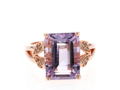 Purple amethyst 18k rose gold over silver ring 6.09ctw
