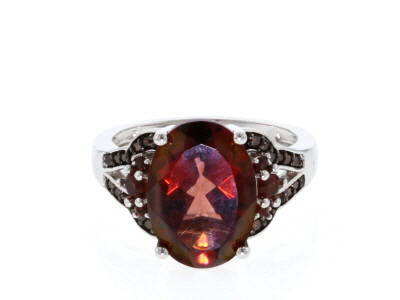 Red labradorite rhodium over silver ring 4.67ctw