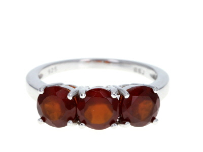 Brown hessonite garnet rhodium over sterling silver 3-stone ring 2.75ctw