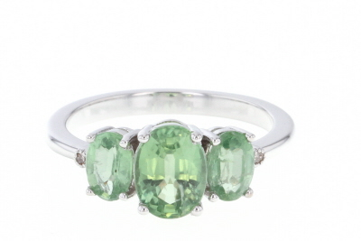 Green Kyanite Rhodium Over Silver Ring 2.31ctw