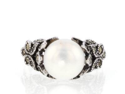 White Cultured Freshwater Pearl With Marcasite Sterling Silver Ring