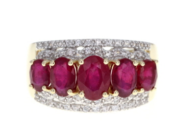 Red Mahaleo® Ruby 10k Yellow Gold 5-Stone Ring 3.34ctw