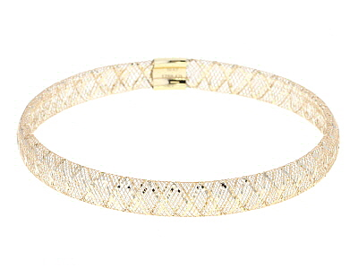10K  Yellow Gold 5.5mm Ribbon Diamond Cut Stretch Mesh Bangle Bracelet