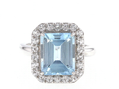 Sky Blue Topaz rhodium over silver ring 5.39ctw