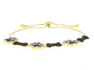Black spinel 18k gold over silver bolo bracelet 2.32ctw