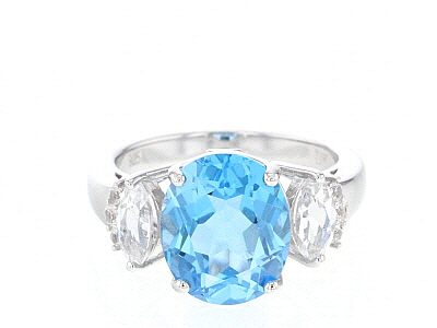 Blue swiss topaz rhodium over silver ring 6.64ctw