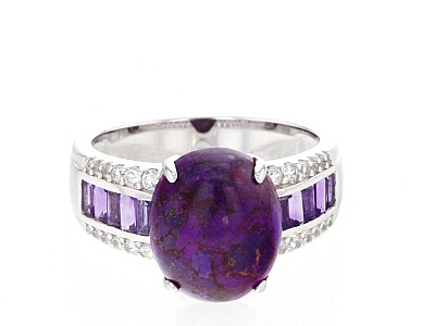 Purple turquoise rhodium over silver ring .79ctw