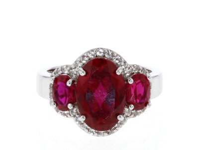 Red lab created ruby rhodium over silver ring 5.14ctw