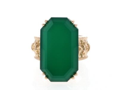 Green onyx 18k yellow gold over sterling silver ring