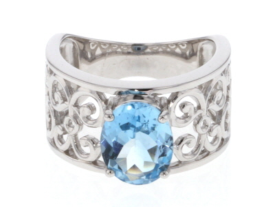 Sky Blue Topaz rhodium over silver ring 2.82ct