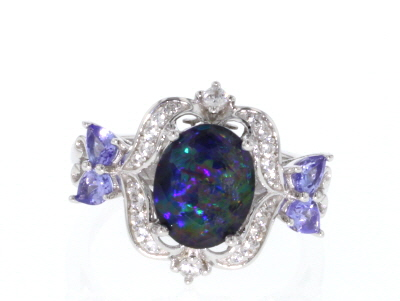 Multi-Color Australian Opal Triplet Rhodium Over Silver Ring .70ctw