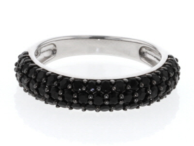 Black spinel rhodium over silver band ring 1.65ctw