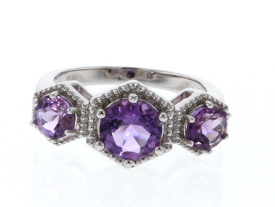 Purple Amethyst Rhodium Over Silver Ring 1.81ctw