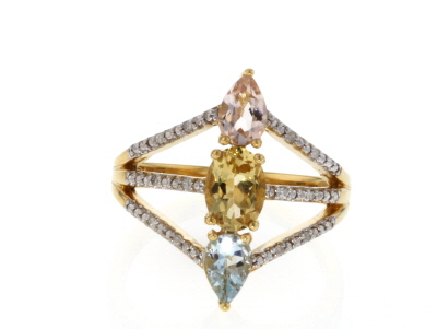 Mixed-Beryl 18k Gold Over Silver Ring 1.28ctw