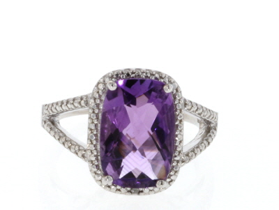 Purple amethyst rhodium over silver ring 4.51ctw