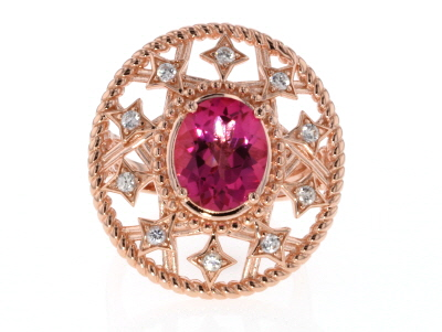 Pink topaz 18k gold over silver ring 4.21ctw