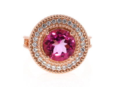 Pink topaz 18k rose gold over silver ring 5.10ctw