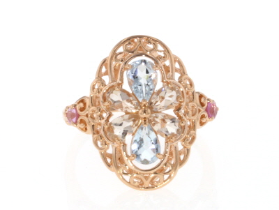 Peach Morganite 18k Rose Gold Over Silver Ring 1.20ctw