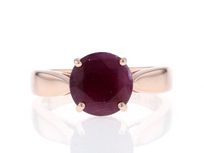 Red ruby 18k rose gold over silver ring 2.75ct