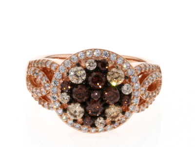 Brown And White Cubic Zirconia 18k Rg Over Sterling Silver Ring 2.14ctw