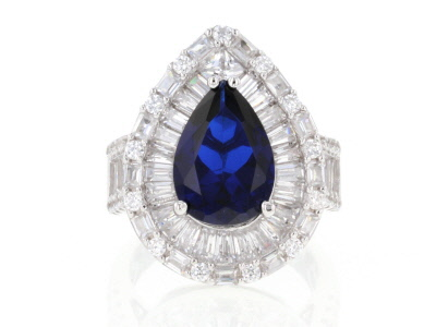 Lab Created Blue Spinel And White Cubic Zirconia Rhodium Over Sterling Silver Ring 11.83ctw